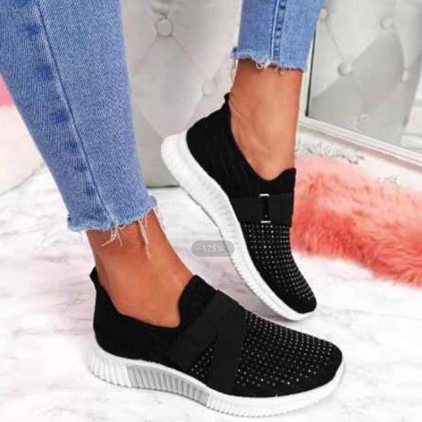 Damer mesh lågsko med andningsbara sneakers mode loafers svart 35