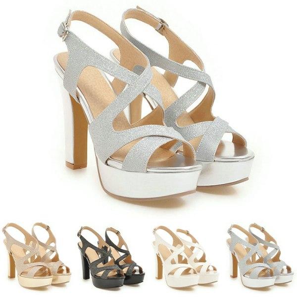 Dammode sandaler ihåla tjocka höga klackar öppen tå Silver 35