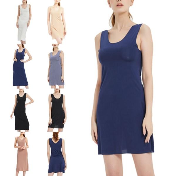 Damnattklänning Sling Ice Silk Elastisk ärmlös Sömnklänning Vit Lång Klänning 4XL