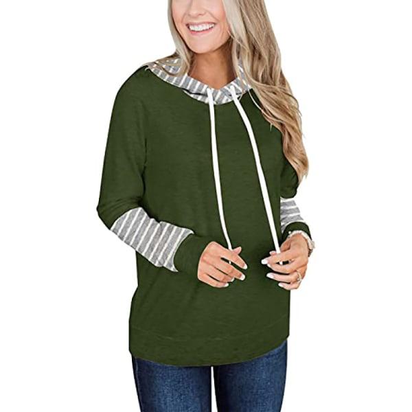 Kvinnors mode randiga sömmar långärmad T-shirt lös tröja Army Green XL