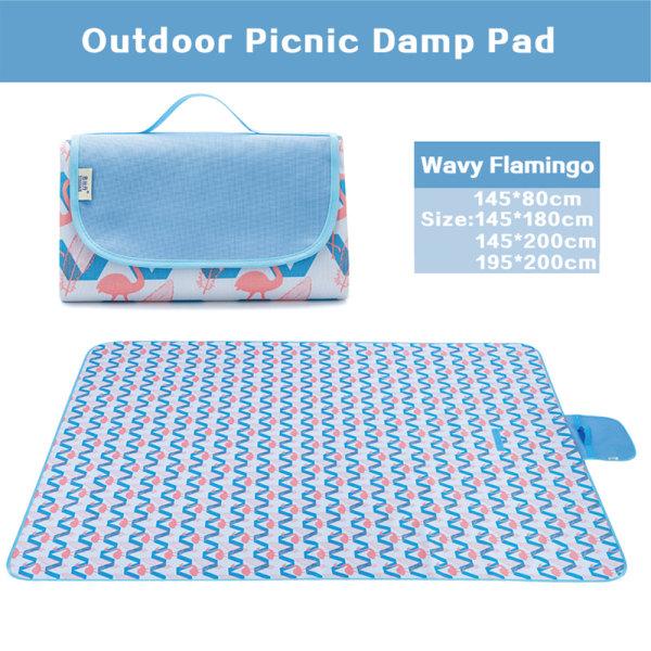 Picknickfiltmatta Campingmatta Resevikt Vattentät 200cm vågor flamingos 195*200 cm