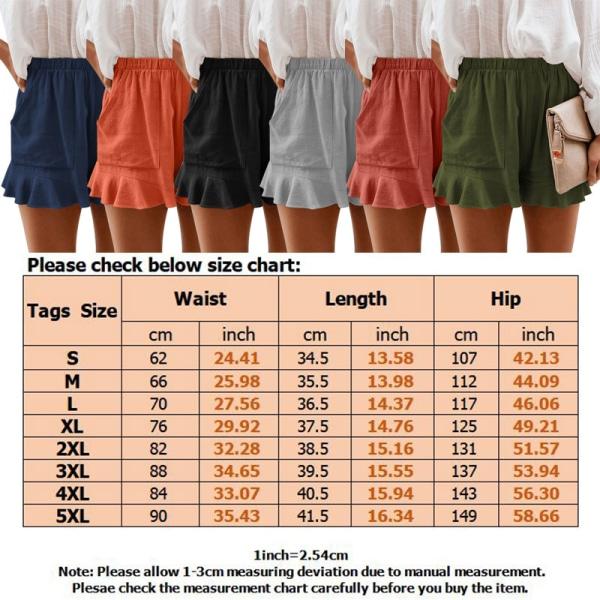 Sommarshorts För Kvinnor Sportbyxor Baggy Beach Ruffle Hot Pants Svart S