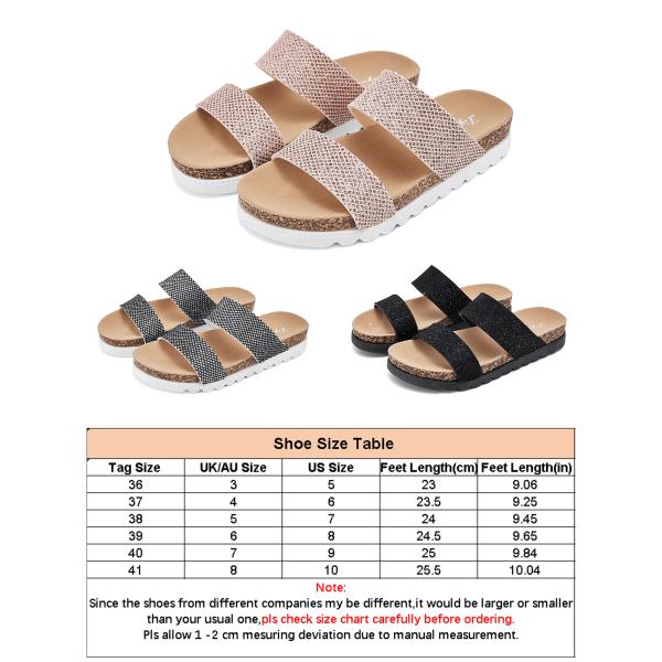 Dam flip -flops strandskor platta tofflor strass sandaler silver- 36