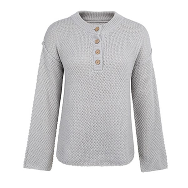 Kvinnors Waggard Casual långärmad tröja Lös tröja Grå S