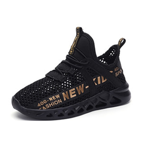 Flickor pojkar barn mode löparskor casual sneakers Svart plus Guld 36