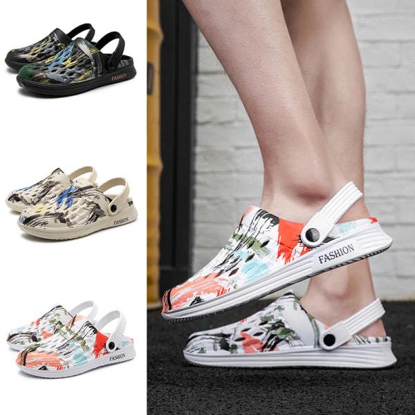 Halkfria sandaler för män kamouflera strandskor mode tofflor Svart 42