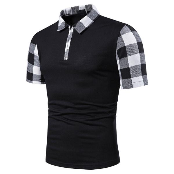 Herr Plaid Splicing Printed Polo Shirt Kortärmad toppskjorta Black XL