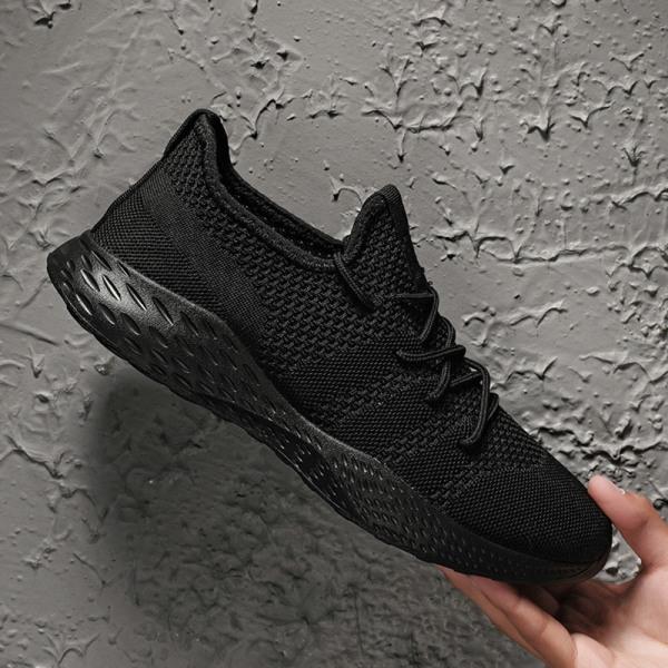 Herrens enfärgade casual skor löparskor sportskor Svart 47