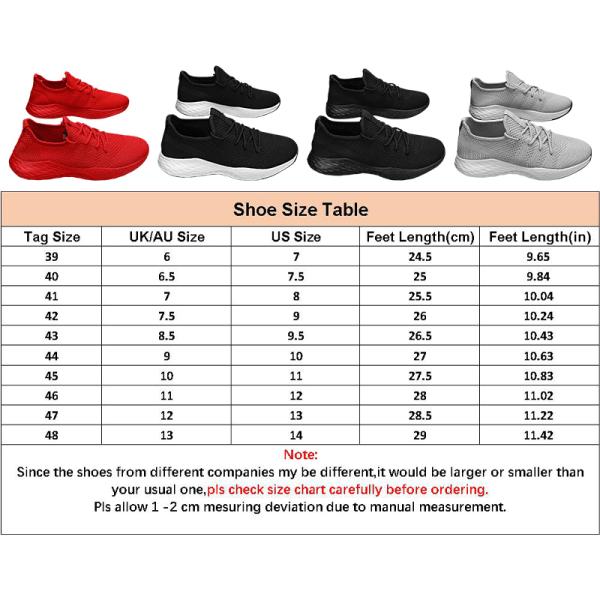 Herrens enfärgade casual skor löparskor sportskor Röd 45