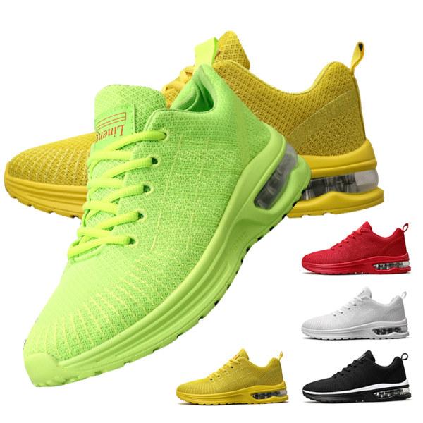 Herrkudde sneakers för män utomhus löparskor med snörning Gul 47