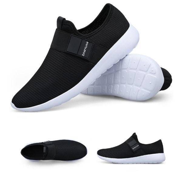Herrmode Mesh Fitness Sneakers Utomhus Andas Fritidsskor Svart 42