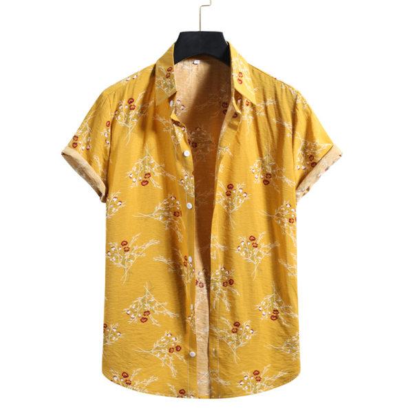 Herrskjorta Casual blommig kortärmad knapp Beach T-shirt topp Gul L