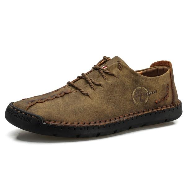 Herrskor för män med rund tå och snörning med andningsbara skor Brun 39