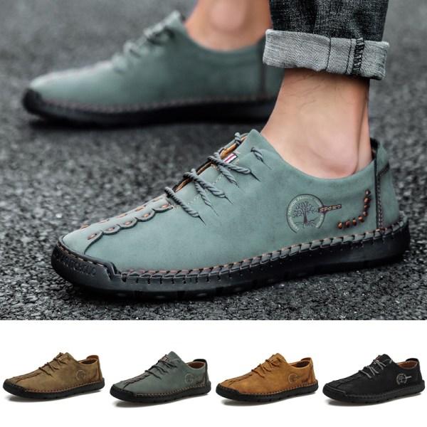 Herrskor för män med rund tå och snörning med andningsbara skor Kaki 44