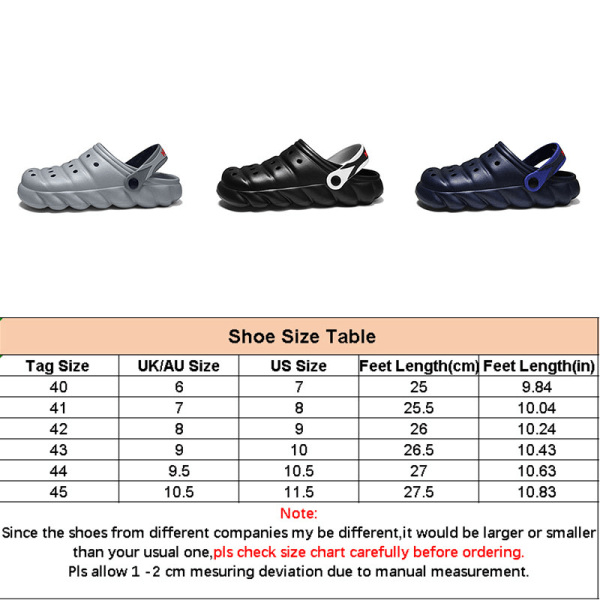 Herrskor med tjocka sulor sandaler tofflor i enfärgade sandaler Svart 41