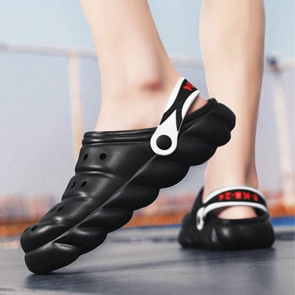 Herrskor med tjocka sulor sandaler tofflor i enfärgade sandaler Svart 43