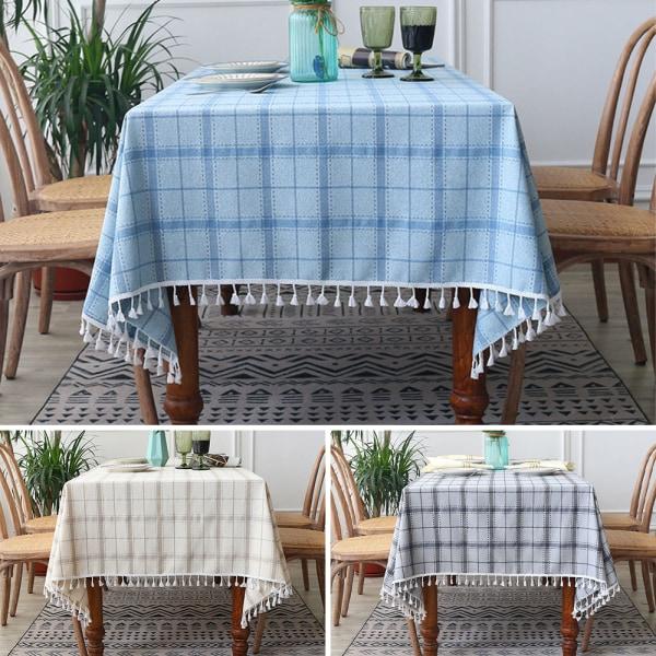 Kontrollera bordsduk tofs polyester rektangulär heminredning grå 140x220cm