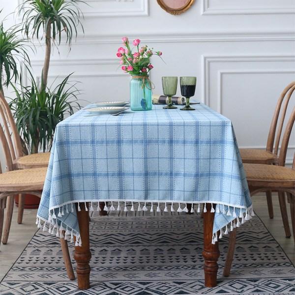 Kontrollera bordsduk tofs polyester rektangulär heminredning Blå 140x220cm