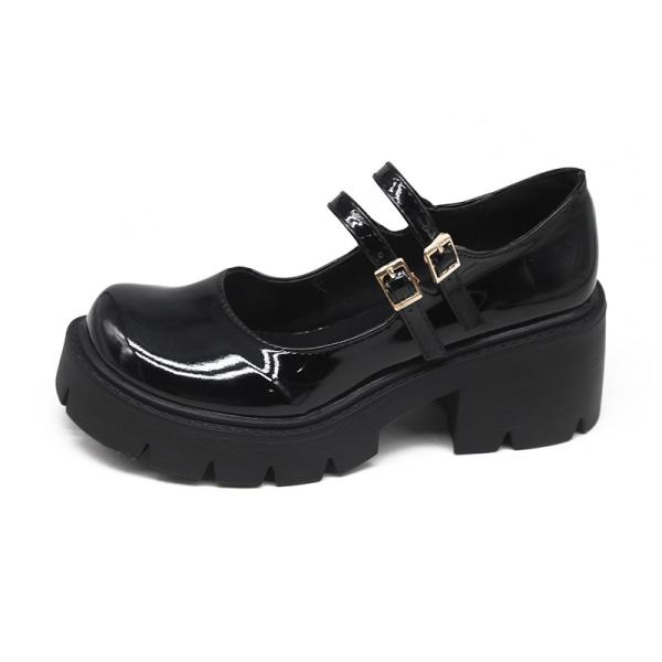 Kvinnliga söta Mary Jane skolskor höjer sandaler blank 36