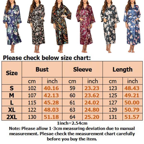 Kvinnor Blommig Satäng Silke Nattkläder Kimono Mantel Morgonrock Guldkedja Svart Botten S