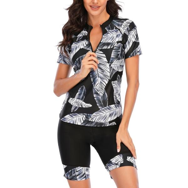 Kvinnor Kortärmad Baddräkt Tvådelat UV-Skydd Surfing Badkläder Svart L