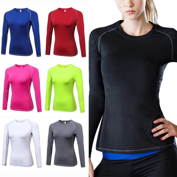 Kvinnor Långärmad T-Shirt Running Gym Tops Sports Snabbtork Yoga Grå S