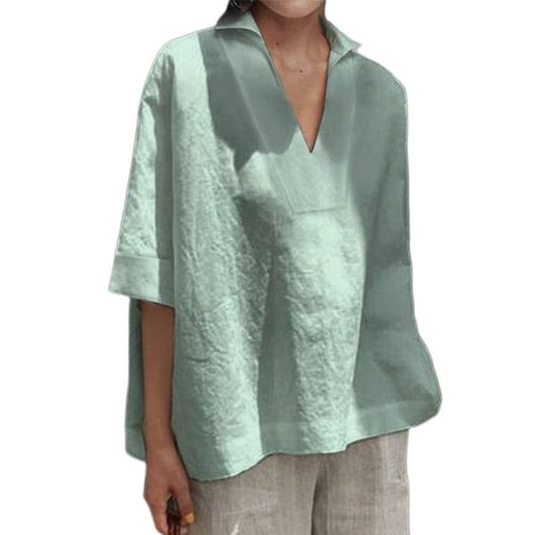 Kvinnor Loose Fit Shirt Casual Solid Color T-Shirt Top grön grå XXL