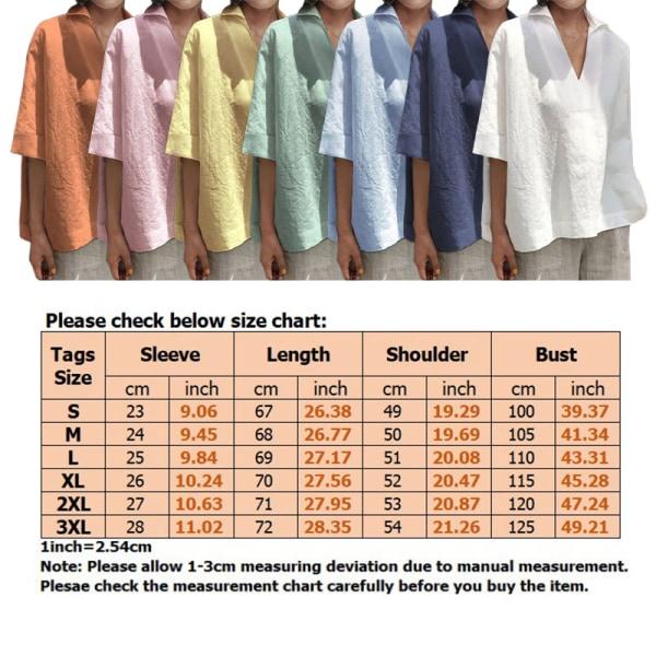 Kvinnor Loose Fit Shirt Casual Solid Color T-Shirt Top Ljusblå XXL