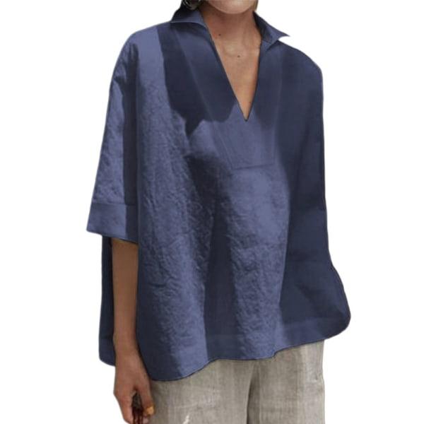 Kvinnor Loose Fit Shirt Casual Solid Color T-Shirt Top Mörkblå XXL
