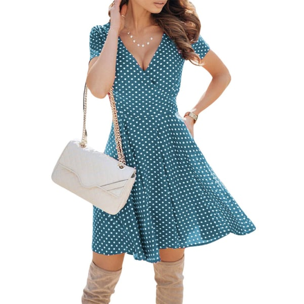 Kvinnor Sexig Kort Kjol Polka Dot Print Beach Vacation Dress Himmelsblå XL