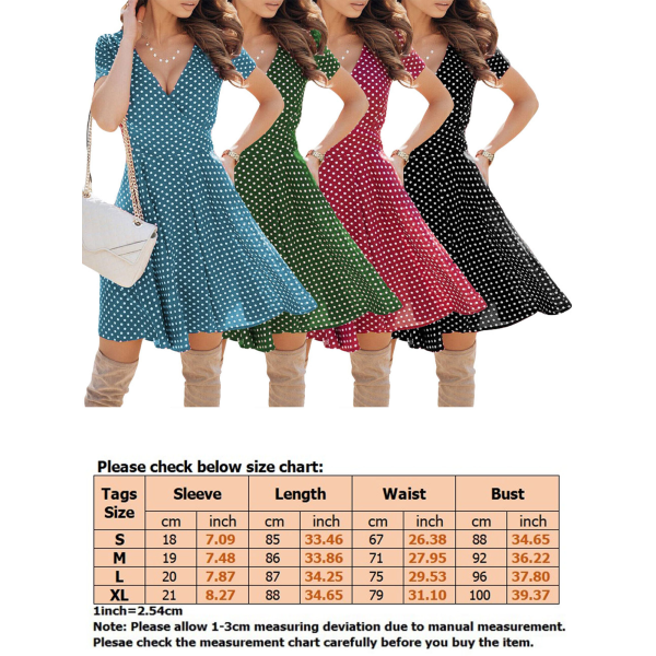 Kvinnor Sexig Kort Kjol Polka Dot Print Beach Vacation Dress grön S
