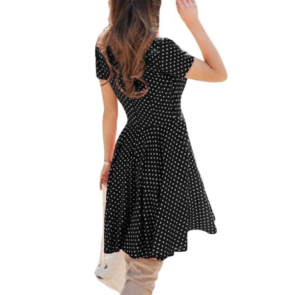 Kvinnor Sexig Kort Kjol Polka Dot Print Beach Vacation Dress svart XL