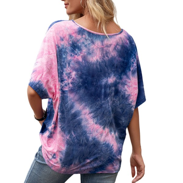 Kvinnor slipsfärgad tryckt kort ärm lös casual T-shirt topp blå S
