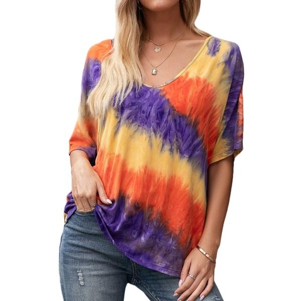 Kvinnor slipsfärgad tryckt kort ärm lös casual T-shirt topp orange L