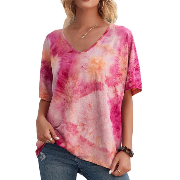 Kvinnor slipsfärgad tryckt kort ärm lös casual T-shirt topp Rosröd XL