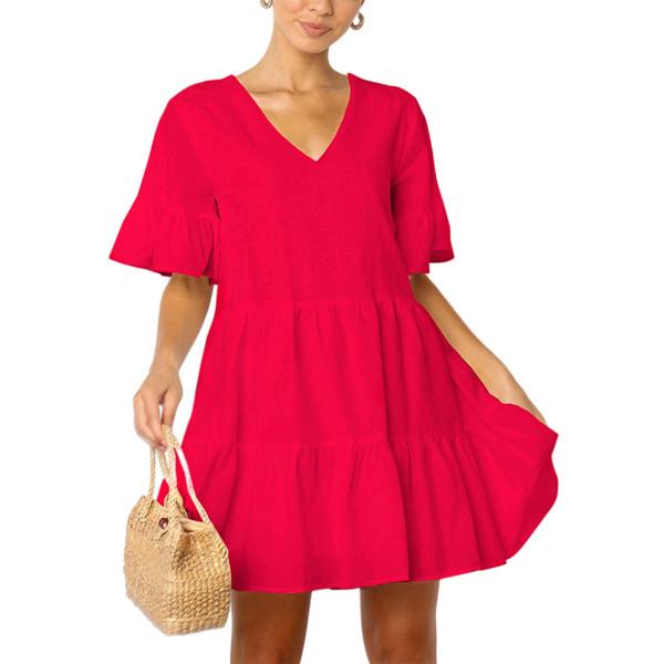 Kvinnor sommar fluffig klänning Casual Enfärgad kort kjol röd L