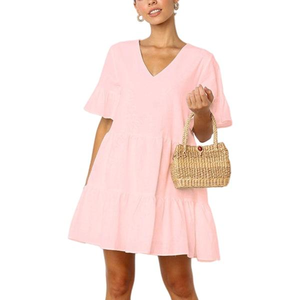 Kvinnor sommar fluffig klänning Casual Enfärgad kort kjol rosa L