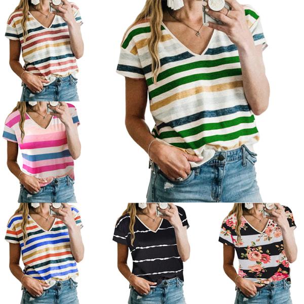 Kvinnor Sommar Kortärmad Casual Hit Color T-Shirt Tröja Topp Blommor L