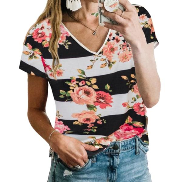 Kvinnor Sommar Kortärmad Casual Hit Color T-Shirt Tröja Topp Blommor XL