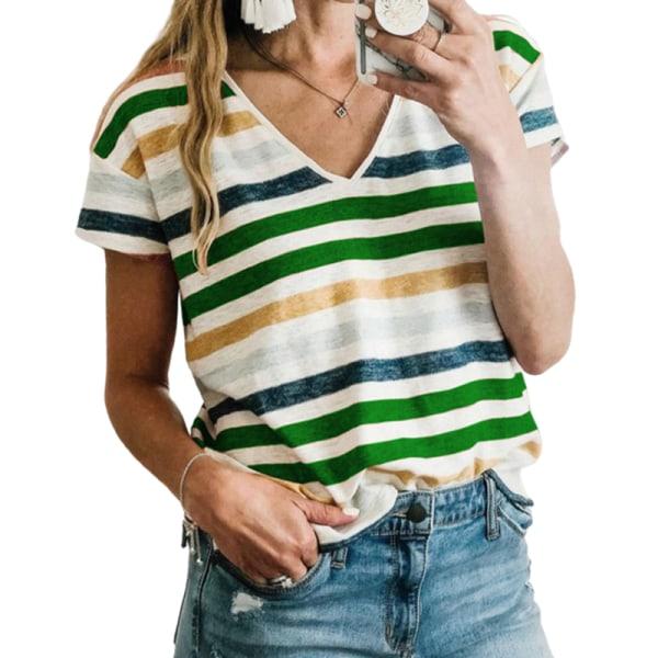 Kvinnor Sommar Kortärmad Casual Hit Color T-Shirt Tröja Topp grön S