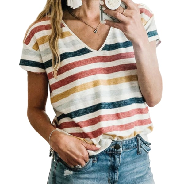 Kvinnor Sommar Kortärmad Casual Hit Color T-Shirt Tröja Topp röd L