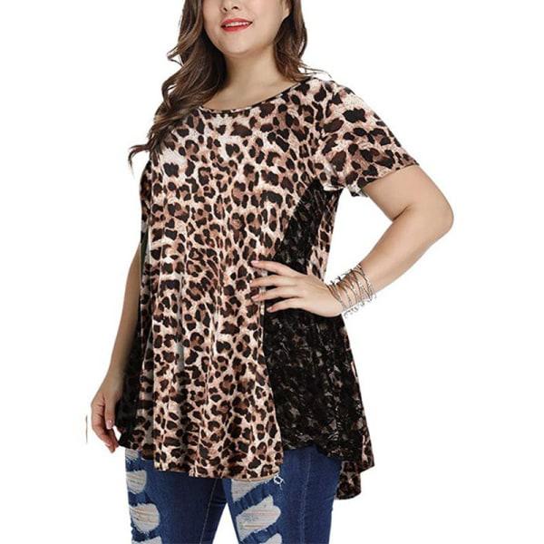 Kvinnor sommartryckt kortärmad lös spets T-shirt hemkläder leopard S