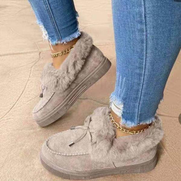 Kvinnor tjocka sulor Loafers Mockasiner plyschfodrad varm sko Grå 37