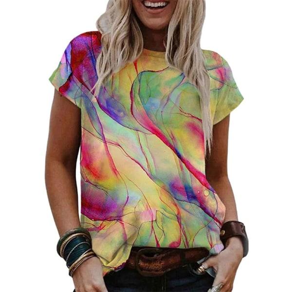 Kvinnor tonad färg kortärmad lös tröja Jogging T-shirt tröja gul 3XL