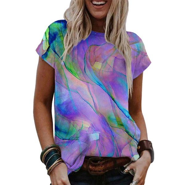 Kvinnor tonad färg kortärmad lös tröja Jogging T-shirt tröja lila 2XL