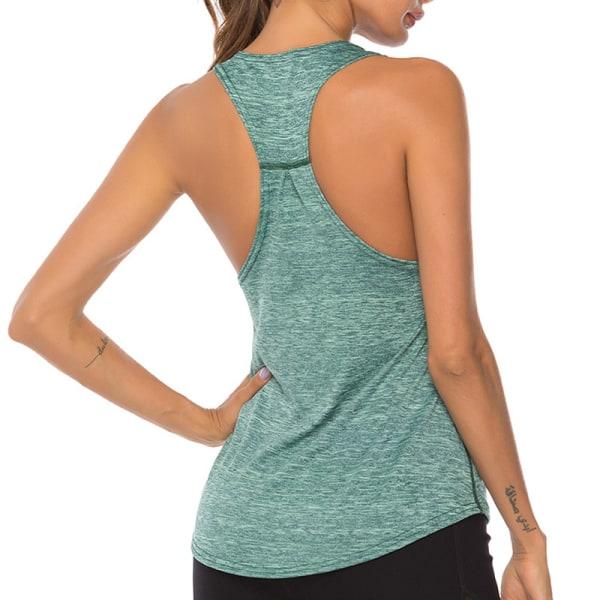Kvinnor Yoga Fitness Ärmlös linne T-shirt Träningsträning Grön M
