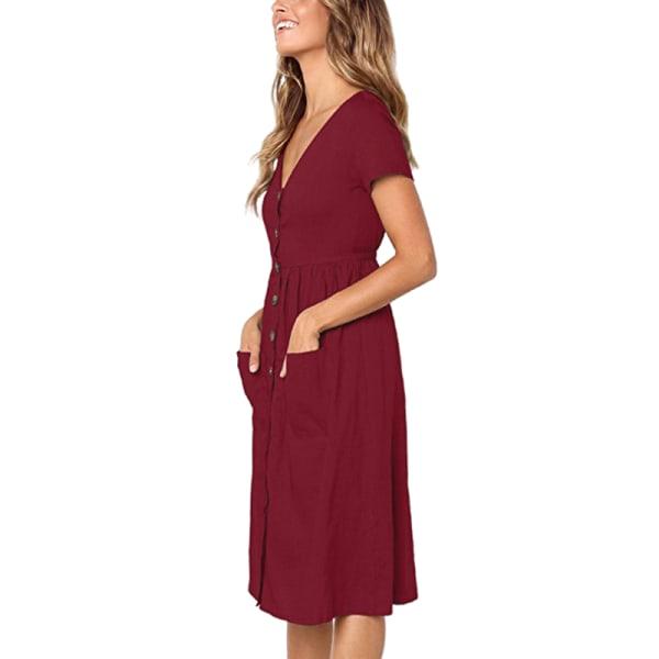 Kvinnors avslappnad klänning kortärmad T-shirt rödvin L