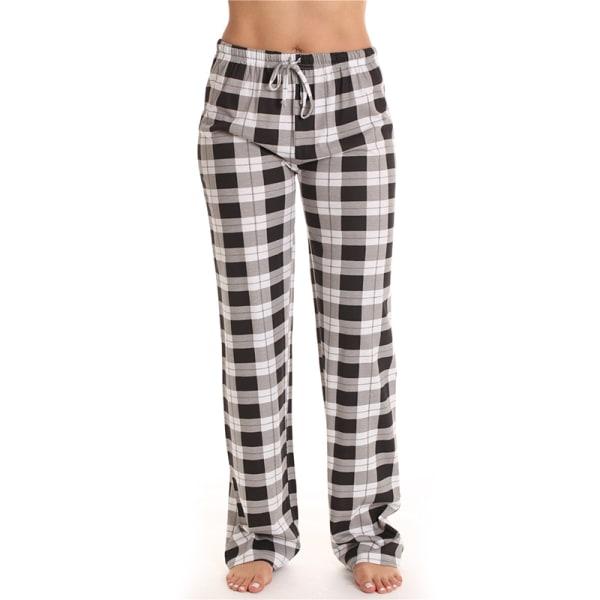 Kvinnors Avslappnade Rutiga Lösa Pyjamasbyxor Nattkläder Lounge Svart S