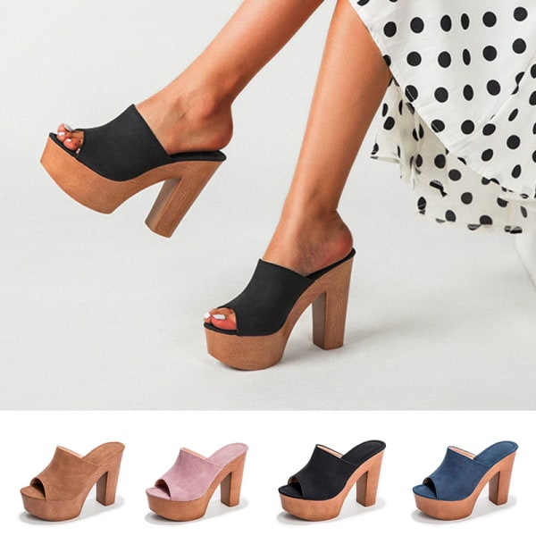 Kvinnors höga klackar fisk mun tjocka ensamfärgade sandaler svart 38