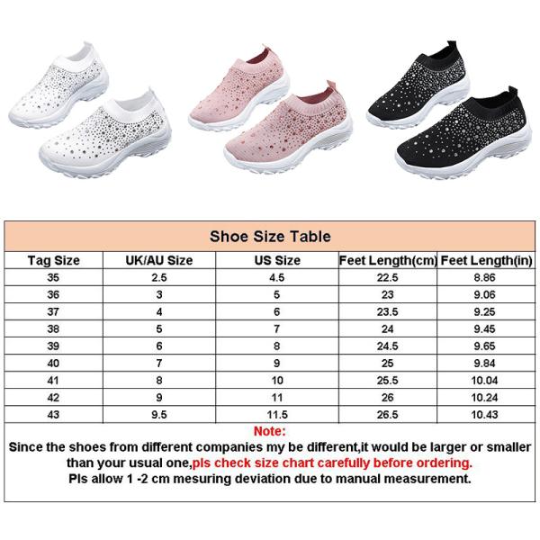 Kvinnors övre skor runda tå grunda strassstenar Vit 38